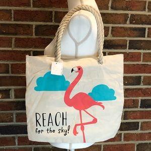 Flamingo Motivational Reach for the Sky Tote Bag